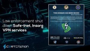 Law enforcement shut down Safe-Inet, Insorg VPN services